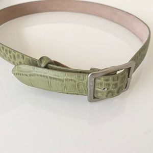 Ann Taylor Sage Green Leather Croc Belt SZ S